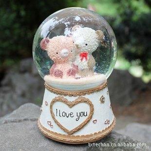 【可爱情侣熊爱心音乐水晶球