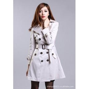 2011新款秋装女装 休闲中长款外套修身翻领双排扣风衣  修身