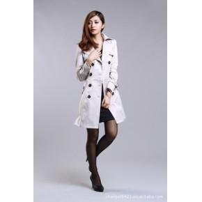 2011秋装新热卖韩版翻领双排扣修身时尚外套中长款女风衣
