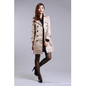 2011春秋新款女装翻领双排扣中长款修身风衣外套配腰带 修身