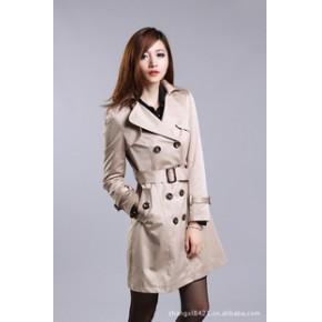 秋装新款 优雅时尚甜美淑女外套 韩版翻领双排扣修身中长款风衣