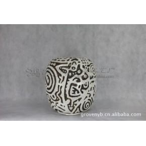 圆型图案瓶 陶瓷工艺品 艺术花瓶 石湾家居装饰摆件 品