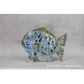 装饰鱼 陶瓷工艺品 年年有鱼 石湾手工艺品 家居装饰摆件