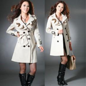 【促销爆款】2011韩版时尚双翻领波浪领休闲修身长款双排扣风衣