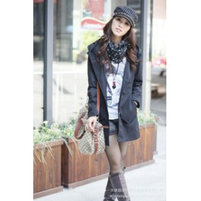 【促销爆款】2011韩版时尚个性口袋休闲修身长款单排扣淑女风衣