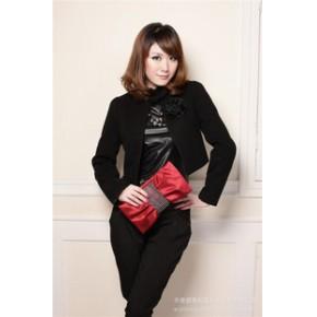 【促销爆款】2011杭派新款 韩版无领 胸花时尚逛街爱羊毛呢外套