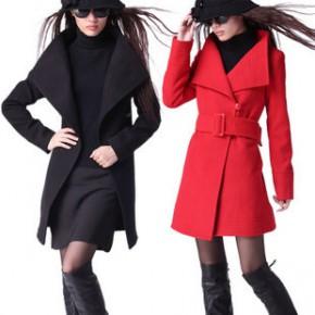 【促销爆款】2011杭派秋冬新款 韩版中长款显瘦淑女气质毛呢大衣