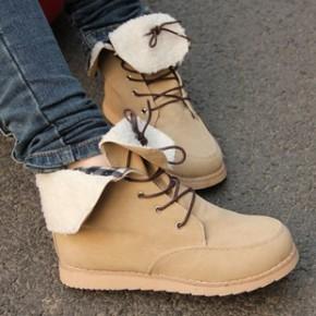 韩版时尚女式休闲短靴子欧美坡跟厚底棉鞋棉靴2011秋冬季新款