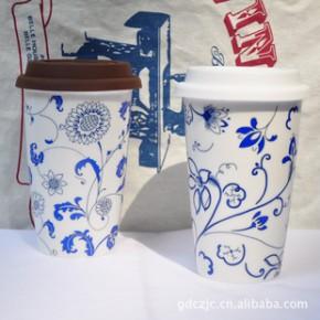 工厂直销 新款星巴克双层陶瓷杯 青花瓷系列 印制LOGO