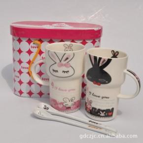 【热销】可爱卡通陶瓷情侣对杯 陶瓷杯 卡通杯 套装礼盒包装