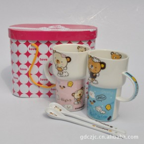 【】卡通陶瓷情侣对杯 陶瓷礼品杯套装 礼盒包装