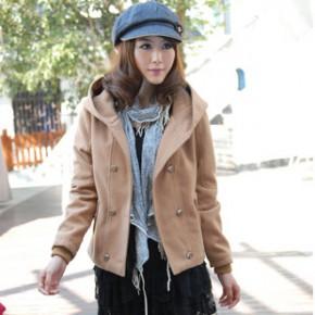 2011冬装新款韩版女式毛呢短款大衣外套 1573