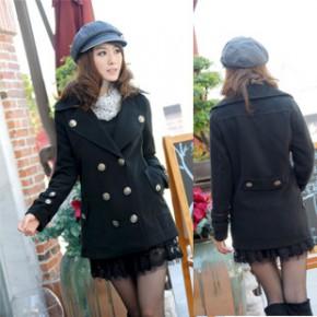 2011冬装新款韩版女装双排扣翻领毛呢大衣外套 1576
