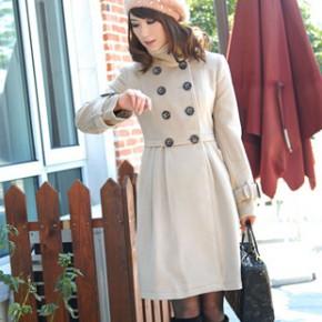 2011冬装新款韩版女装立领双排扣毛呢大衣 1577