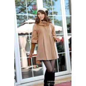 【促销爆款】2011杭派秋冬毛呢大衣 韩版立领贵夫人中袖呢子外套