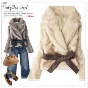2011新品秋冬季装新款韩版女装短外套薄款柔软仿兔毛皮草外套