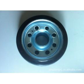 黑色实心铝制橡胶推车轮 铝制橡胶推车轮