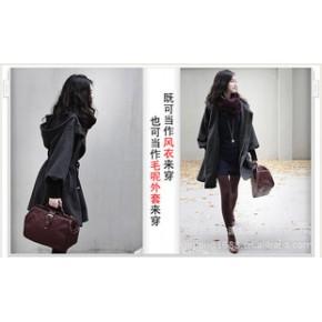 【促销爆款】2011杭派秋装新款韩版带帽灯笼袖保暖灰色毛呢大衣