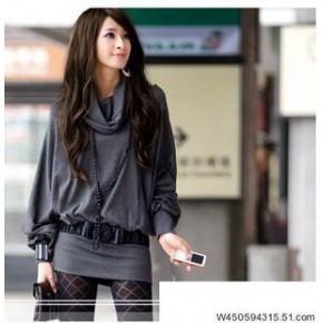 2011米娜甜美长款大翻领包臀T恤不配腰带
