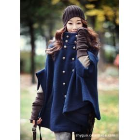 201秋冬新款韩版热卖经典双排扣斗篷蝙蝠袖毛呢大衣风衣