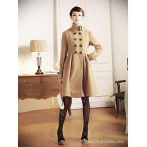 2011秋冬新款韩版热卖气质版毛呢双排扣立领长款呢外套