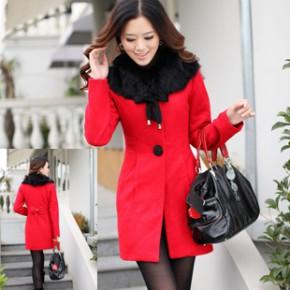 2011冬装韩版女装新款单排扣连帽毛呢大衣  1652
