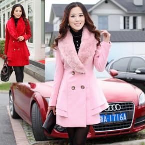 2011冬装韩版女装新款翻领修身时尚女式毛呢大衣 1656