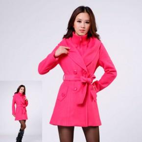2011冬装韩版新款女装连帽修身时尚女式毛呢大衣外套 1658
