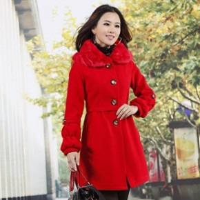 2011冬装新款韩版女装单排扣毛领翻领毛呢大衣外套 1660