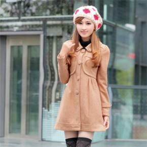 2011冬装新款韩版时尚修身女式毛呢大衣外套 1661