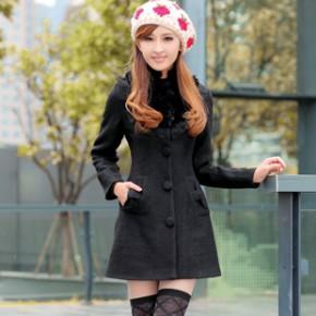 2011冬装韩版新款女式时尚毛呢大衣外套 1663
