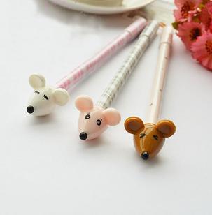 韩国文具 可爱卷尾巴小老鼠 水笔 中性笔