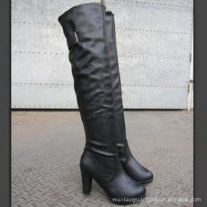 秋冬季新款欧美过膝长靴子女高跟鞋防水台皮面复古日系甜美靴