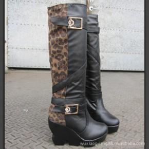 春秋冬季新款欧美时尚豹纹拼色高跟鞋女高筒靴子坡跟厚底鞋
