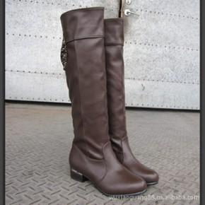 春秋冬季新款复古日系甜美蝴蝶结水钻粗跟女过膝长靴子高筒靴
