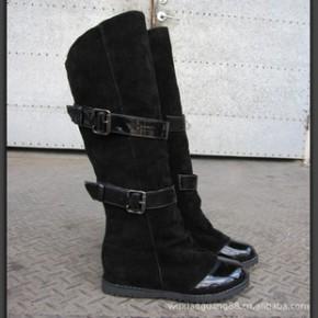 春秋冬季新款日系甜美拼色高筒靴子女低跟长靴子坡跟平底鞋