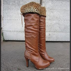 秋冬季新款时尚日系豹纹甜美铆钉高跟鞋女过膝长靴子高筒靴