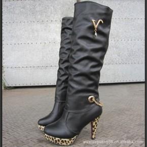 春秋新款2011日系甜美过膝长靴子高跟鞋秋冬复古豹纹防水台高筒靴