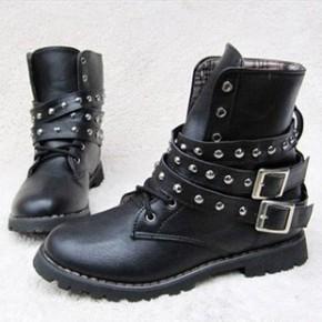 秋冬季新款欧美潮女短靴子马丁靴机车靴骑士靴复古高帮厚底靴