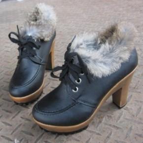 秋冬季新款时尚韩版毛毛短靴女欧美粗跟高跟鞋防水台厚底鞋