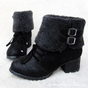 秋冬季新款欧美女短靴子韩版时尚粗跟流苏靴中跟短靴厚底靴
