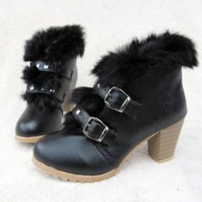 秋冬季新款欧美毛毛短靴女及踝裸靴撞色高跟鞋粗跟韩版靴子