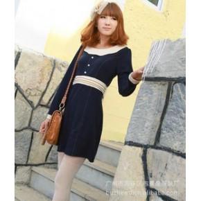 2011秋冬装新款日韩女装批发代理布着屋连衣裹裙 2560 蓝