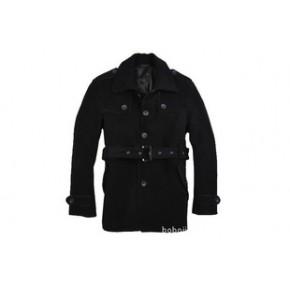御寒必备 2011秋冬卡宾 配腰带 男装时尚休闲羊绒毛呢子大衣外套