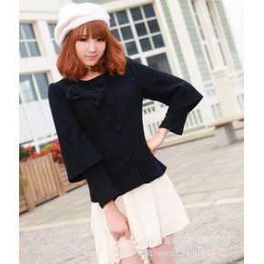 2011女冬装新款批发代销一件代发呢子短外套开衫 2618 黑