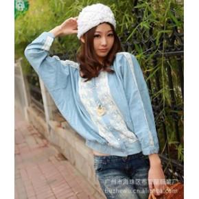 2011秋冬装新款一件代发宽松衫蝙蝠衬衫 2421 蓝