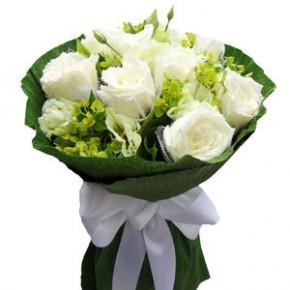 永州鲜花店11支白玫瑰永州全市二区九县鲜花