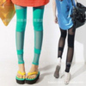 新款 韩国性感网纱拼接 薄款打底裤 显瘦弹力糖果色九分裤 批发
