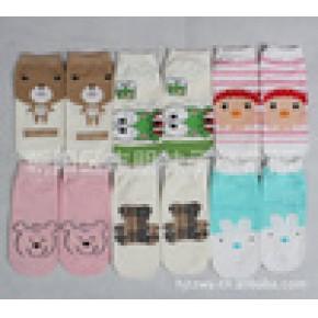 韩国袜子 鹿人无质检处理 精梳棉卡通女船袜 AB袜对对袜拼图袜子
