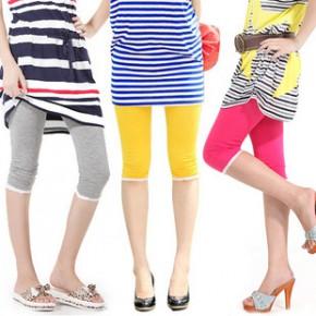 女装新款韩版 棉质显瘦蕾丝小花边七分裤 糖果彩色7分打底裤批发
